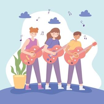 Kinderen spelen gitaar