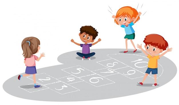 Kinderen spelen hinkelen spel