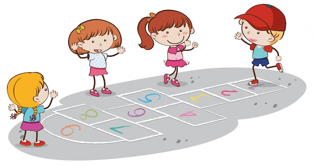 Kinderen spelen hinkelspel op witte achtergrond