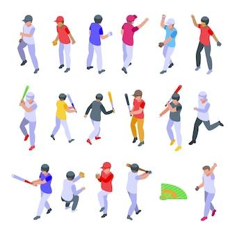 Kinderen spelen honkbal pictogrammen instellen. isometrische reeks kinderen die honkbalpictogrammen voor web spelen