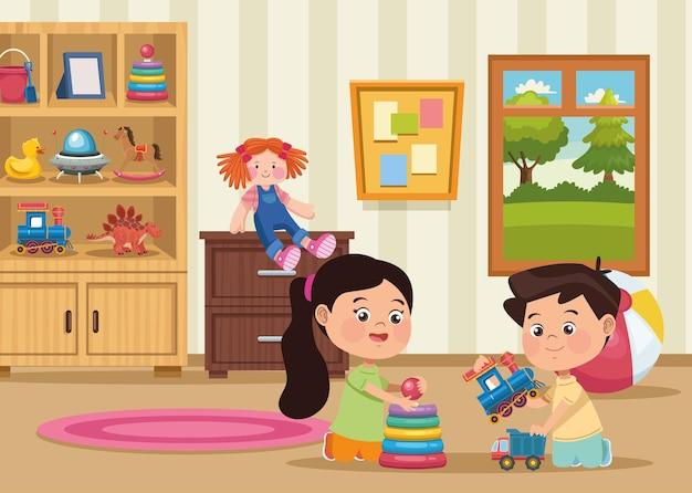 Kinderen spelen in de kamer