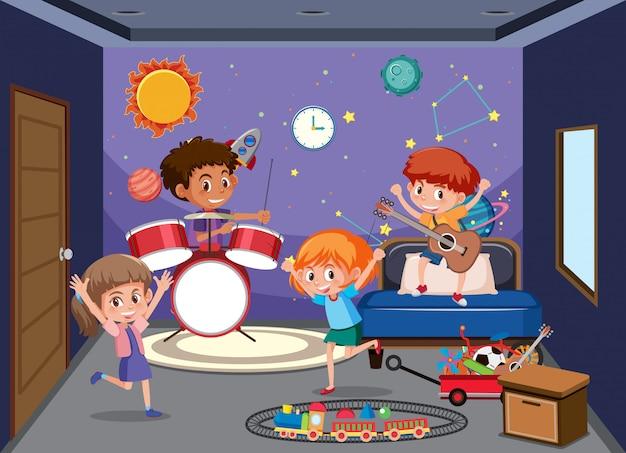 Kinderen spelen in de speelkamer