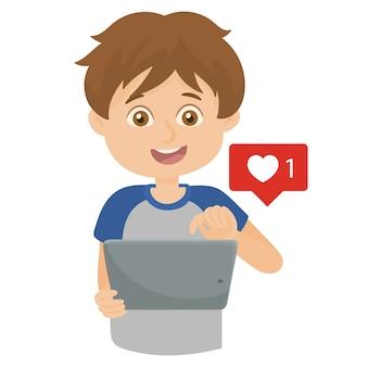 Kinderen spelen in de tablet