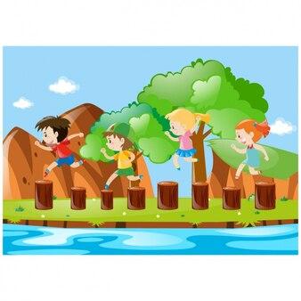 Kinderen spelen in de wei