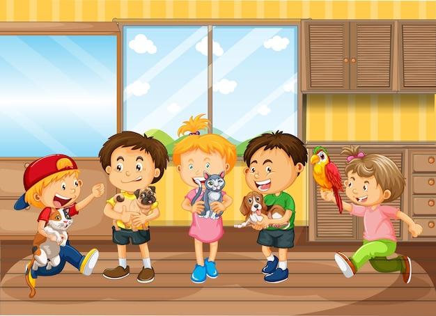 Kinderen spelen in de woonkamer