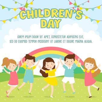 Kinderen spelen in het park- dag van het kind