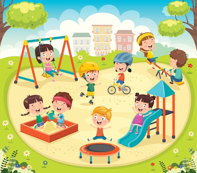 Kinderen spelen in het park