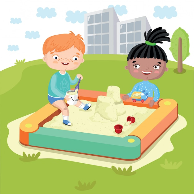 Kinderen spelen in zandbak