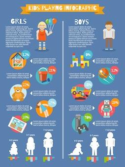 Kinderen spelen infographics
