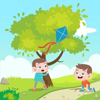 Kinderen spelen kite vectorillustratie