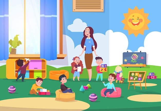 Kinderen spelen kleuterklas. leuke kinderen leren in de klas met leraar. kinders voorbereiden op school