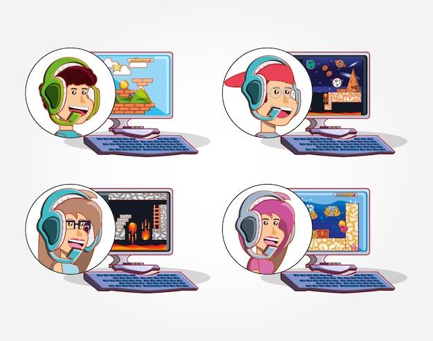 Kinderen spelen met een videogameconsole Premium Vector