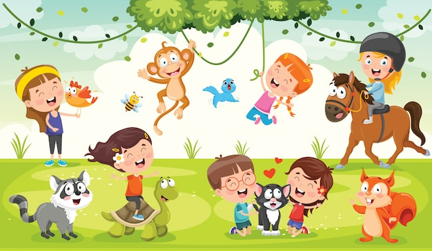 Kinderen spelen met grappige dieren
