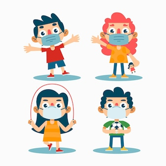 Kinderen spelen met medische masker