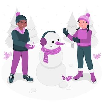 Kinderen spelen met sneeuw concept illustratie