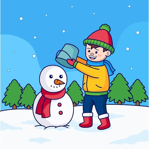 Kinderen spelen met sneeuwpop met bomen en sneeuw