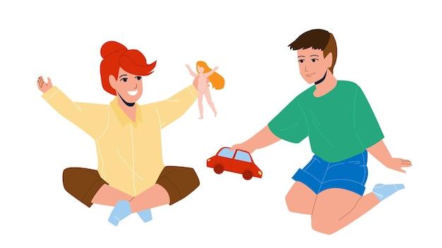 Kinderen spelen met speelgoed in de kleuterschool vector. kleine jongen en meisje kinderen spelen samen met auto en pop. tekens kinderen vrienden spelen, grappige vrije tijd platte cartoon afbeelding
