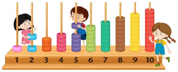 Kinderen spelen met telraam