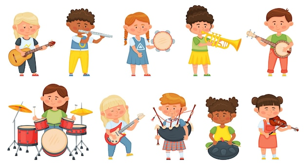 Kinderen spelen muziekinstrumenten, kinderen orkest muziek hobby. leuke jongens en meisjesmusici die op gitaar, trommels, viool vectorreeks spelen. vrolijke diverse personages met entertainment
