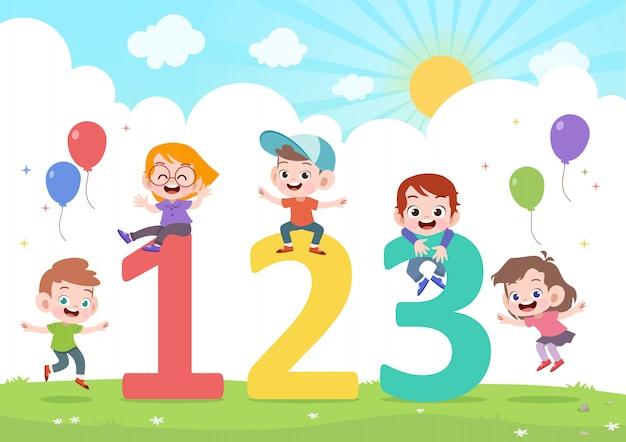 Kinderen spelen nummer vectorillustratie