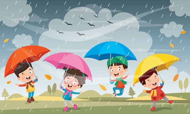 Kinderen spelen onder de regen