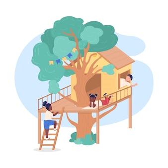 Kinderen spelen op boomhut 2d-web,