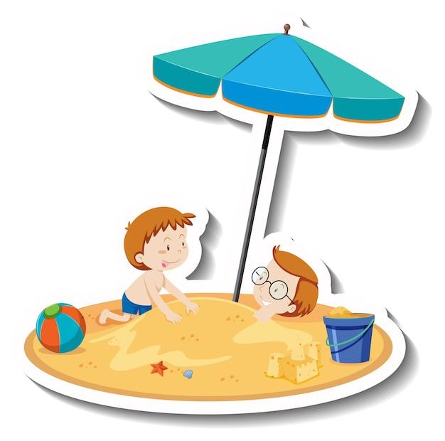Kinderen spelen op het strand cartoon sticker