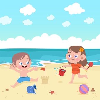 Kinderen spelen op het strand illustratie