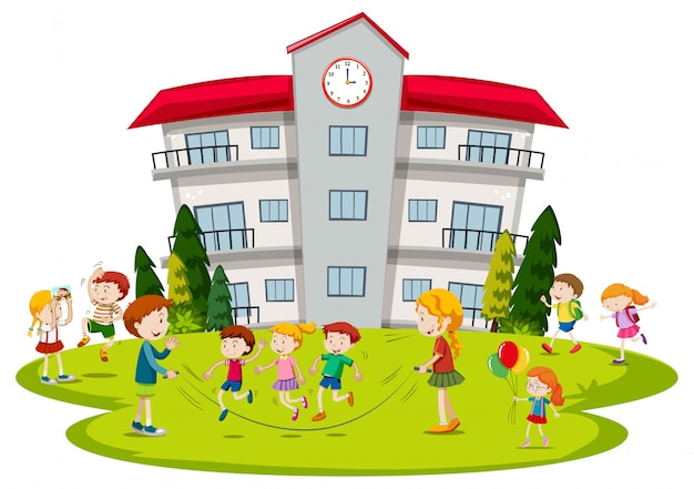 Kinderen spelen op school