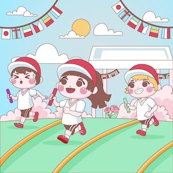 Kinderen spelen overlevende japanse sportfestival