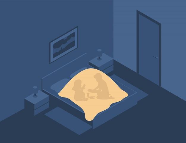 Kinderen spelen 's nachts in het donker onder de dekens met een zaklamp. kinderspel in het bed. de jongen en het meisje bedekken de deken in de slaapkamer.