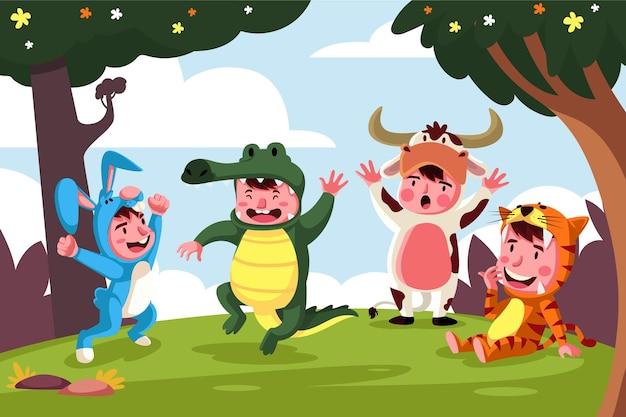 Kinderen spelen samen met dierenkostuum