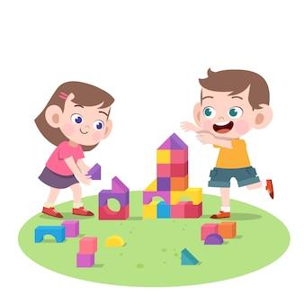 Kinderen spelen samen vectorillustratie