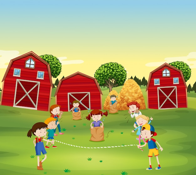 Kinderen spelen spel in het veld