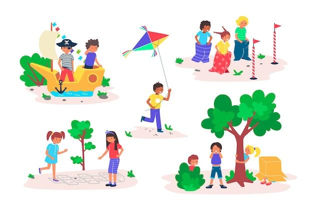 Kinderen spelen spelletjes buiten illustratie set