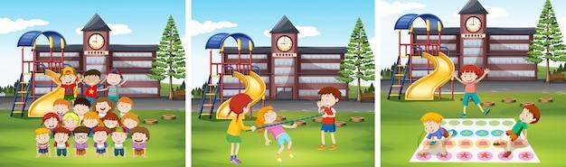 Kinderen spelen spelletjes op schoolterrein