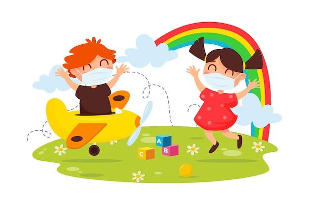 Kinderen spelen terwijl het dragen van medische maskers