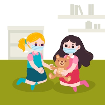 Kinderen spelen tijdens quarantaine illustratie