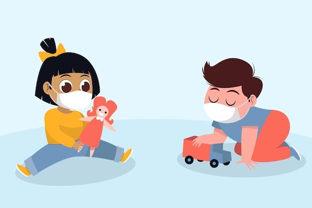 Kinderen spelen tijdens quarantaine