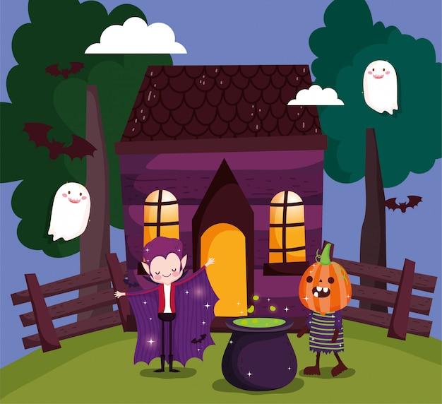 Kinderen spelen trick or treat op halloween