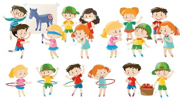 Kinderen spelen verschillende games