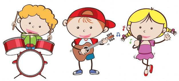 Kinderen spelen verschillende muziekinstrumenten