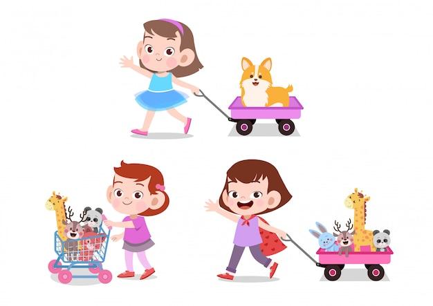 Kinderen spelen wagenspeelgoed