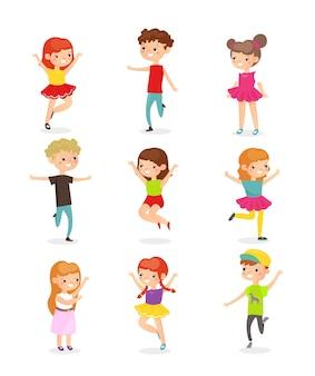 Kinderen springen blije kinderen in beweging stripfiguren pack