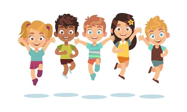 Kinderen springen. cartoon kinderen spelen en springen geïsoleerde gelukkig actieve schattig verrast kind vector tekens