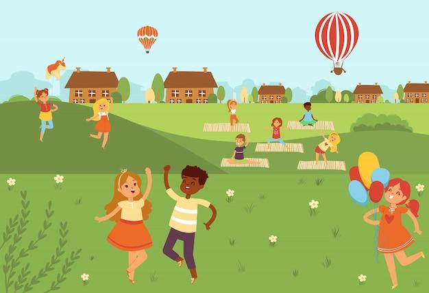 Kinderen springen doen yoga-activiteiten en sporten in de natuur buitenshuis vlakke afbeelding. kinderen in het land doen fysieke oefeningen.