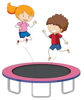 Kinderen springen op de trampoline