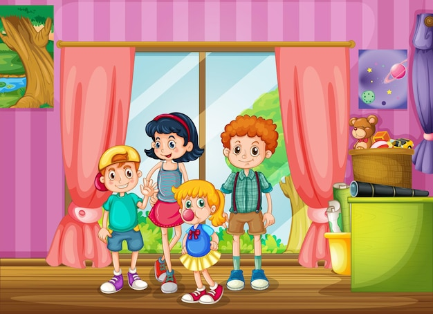 Kinderen staan in de kamer