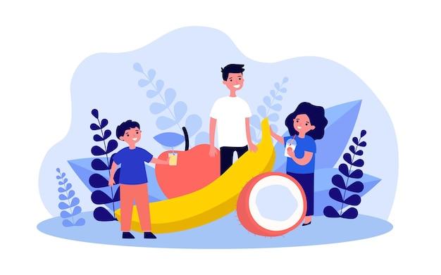 Kinderen staan naast gigantische vruchten platte vectorillustratie