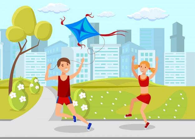 Kinderen stad buiten activiteit vlakke afbeelding